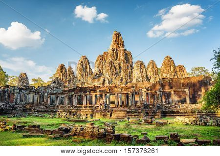 Main View Of Ancient Bayon Temple In Angkor Thom, Cambodia