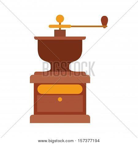 coffee grinding machine with crank vector illustration