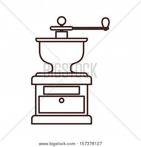 silhouette coffee grinding machine with crank vector illustration