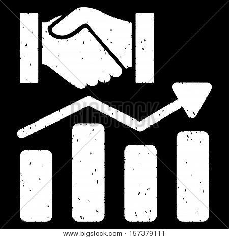 Acquisition Hands Graph Trend grainy textured icon for overlay watermark stamps. Flat symbol with dust texture. Dotted vector white ink rubber seal stamp with grunge design on a black background.
