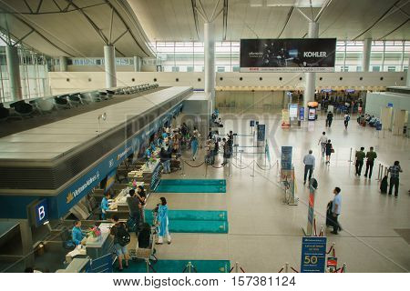 Ho Chi Minh City, Vietnam - November 2016: International departure check-in area inside of Tan Son Nhat International Airport, Ho Chi Minh Airport, Vietnam. Tan Son Nhat International Airport is the largest and the busiest airport in Vietnam