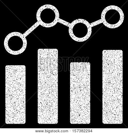 Point Chart grainy textured icon for overlay watermark stamps. Flat symbol with dirty texture. Dotted vector white ink rubber seal stamp with grunge design on a black background.