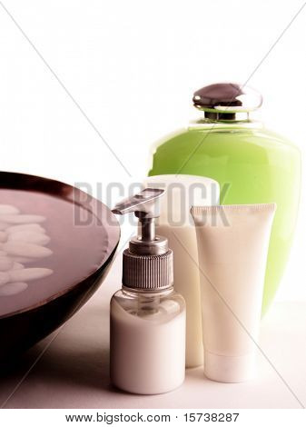 SPA cosmetics series. cosmetics bottles