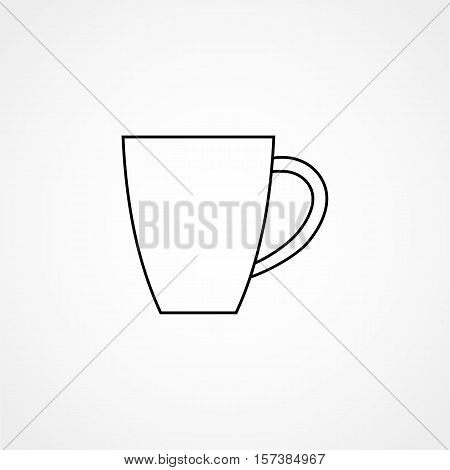 Coffee Cup Line Icon Simple Design On A White Background. Vector Logo Illustration