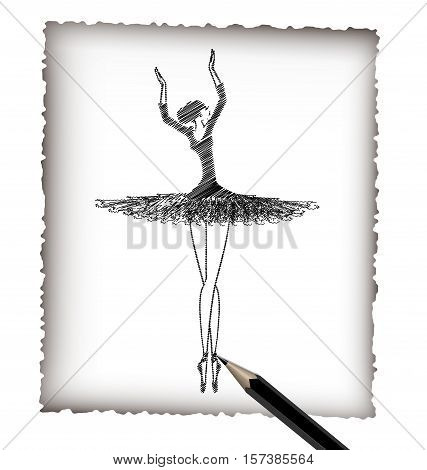 light background, black pencil, sheet of white paper and the image of abstract lady ballet dancer