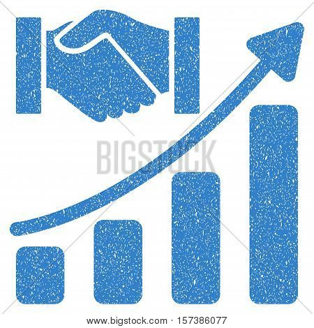 Acquisition Hands Growth Chart grainy textured icon for overlay watermark stamps. Flat symbol with dirty texture. Dotted vector cobalt ink rubber seal stamp with grunge design on a white background.