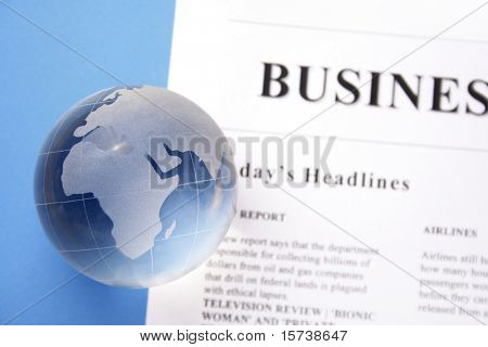 global news. newspaper and globe