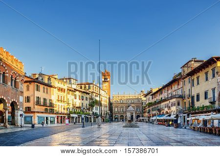 View Of Piazza Delle Erbe In Verona (italy) In Morning