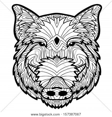 Monochrome drawing with national patterns. Painted the boar on the background tribal mandala patterns. Element for your design. Cards, bags, coloring books for adults, t-shirts, tattoo