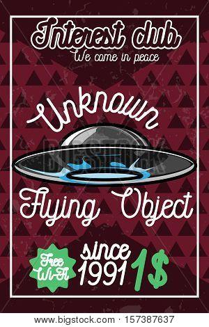 Color vintage ufo poster. UFO cocept. Vintage style. Vector illustration