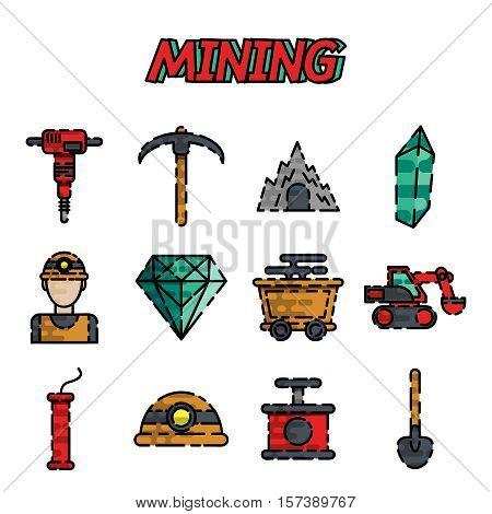Mining icons flat set with miner hammer truck bulldozer isolated vector illustration