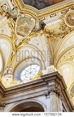Beautiful Details Of The Interior Of In The Royal Palace Of Madrid In Spain