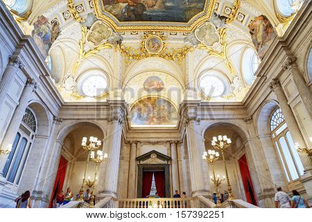 Beautiful Vaulted Ceiling Above The Flight Of Stairs In The Royal Palace Of Madrid In Spain