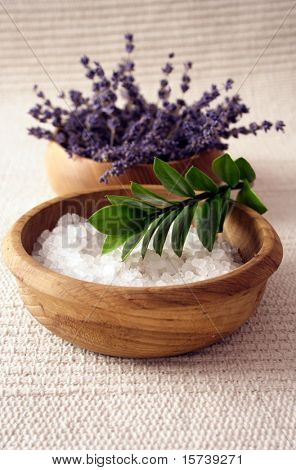 bath salt and lavender flowers. aromatherapy items