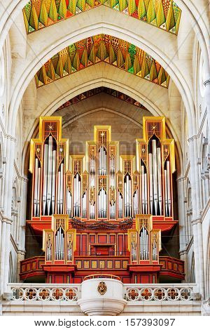 The Pipe Organ In The Cathedral Of Saint Mary The Royal Of La Almudena In Madrid