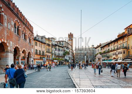 Piazza Delle Erbe (market Square) In Verona, Italy