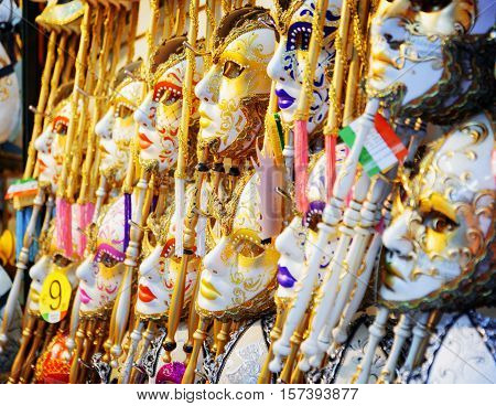 Venetian Masks For Carnival In Shop On The Rialto Bridge, Italy