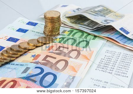 Statement Of Account With The Money Euro.