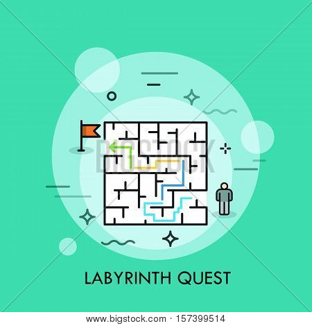 Problem solution and decision making concept, successful business strategy, labyrinth quest icon, maze challenge. Vector illustration in thin line style for advertisement, website, header, banner.
