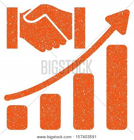 Acquisition Hands Growth Chart grainy textured icon for overlay watermark stamps. Flat symbol with scratched texture.
