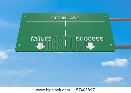 Get In Lane Business Concept: Failure Or Success Road Sign 3d illustration