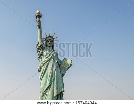 Reprica of Statue of liberty at Odaiba, Tokyo, Japan. Statue of liberty is one of the most popular attraction in Tokyo.
