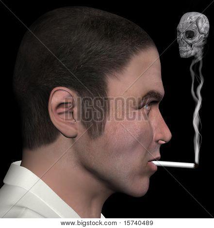 Man And Smoke Skull 3D Illustration
