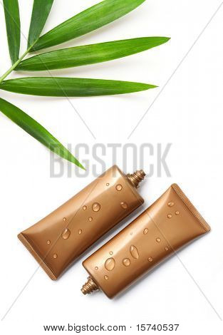 suntan lotion container isolated on white background