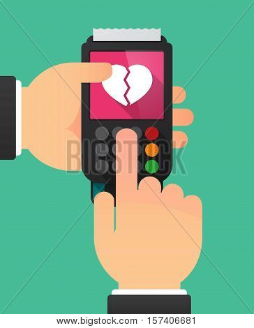 Hands With A Dataphone With A Broken Heart