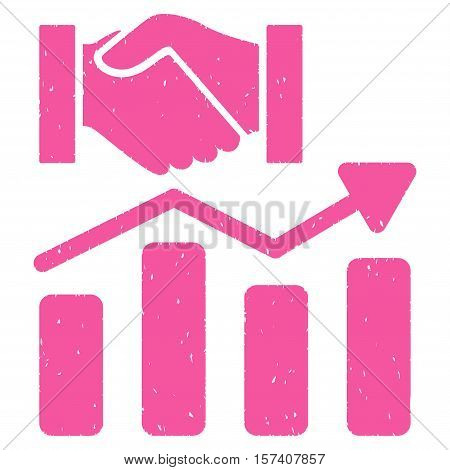 Acquisition Hands Graph Trend grainy textured icon for overlay watermark stamps. Flat symbol with dirty texture. Dotted vector pink ink rubber seal stamp with grunge design on a white background.
