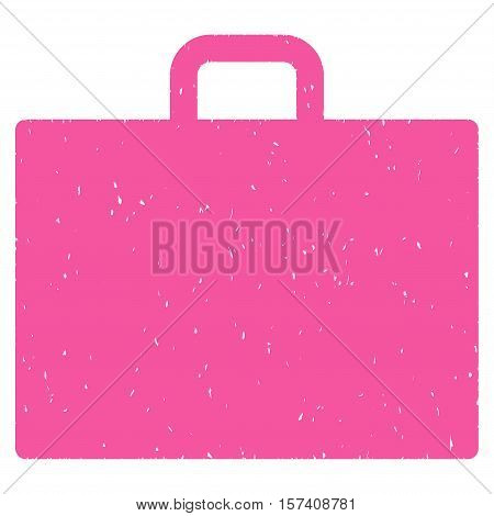 Case grainy textured icon for overlay watermark stamps. Flat symbol with unclean texture. Dotted vector pink ink rubber seal stamp with grunge design on a white background.