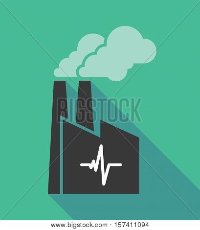 Factory Icon With A Heart Beat Sign