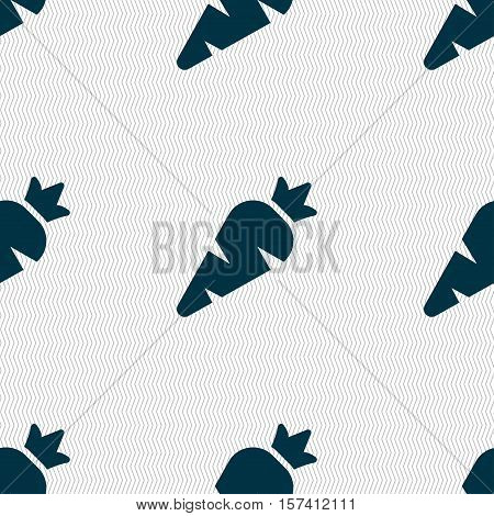 Carrot Vegetable Icon Sign. Seamless Pattern With Geometric Texture. Vector