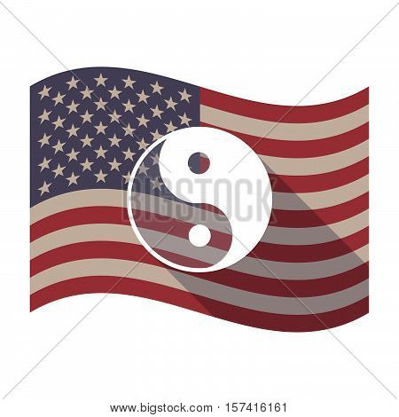 Long Shadow Usa Flag With A Ying Yang