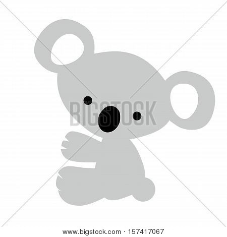 Icon color baby little cute grey Koala on white background. Baby vector illustration. Baby shower