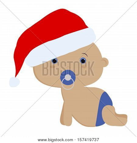 icon color cute baby boy crawling in a Santa hat on a white background. Baby vector illustration. Baby shower or arrival