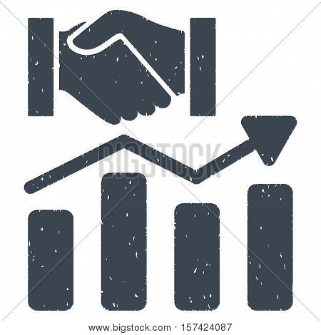 Acquisition Hands Graph Trend grainy textured icon for overlay watermark stamps. Flat symbol with unclean texture.