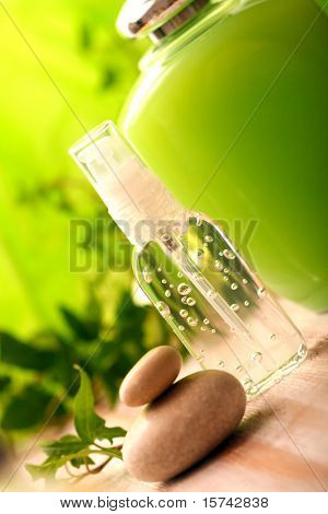 green SPA cosmetics series. cosmetics bottles