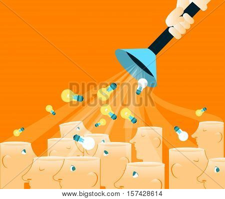 Taking away other people's ideas impudent. Vector illustration