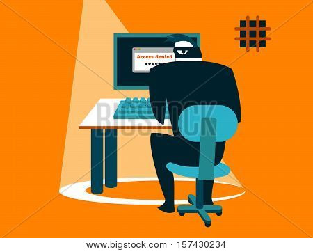 Dangerous correspondence. Information security. Carefully hacker! Vector illustration