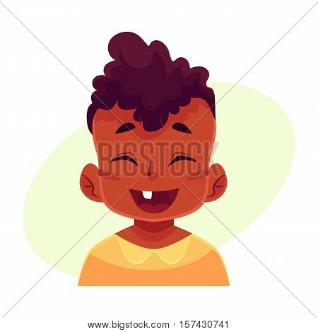Little boy face, laughing facial expression, cartoon vector illustrations isolated on yellow background. black male kid emoji face laughing out load, closed eyes and open mouth. Laughing expression