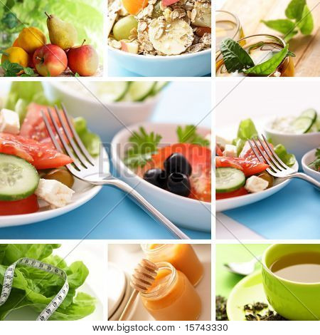 collage de comer saludable
