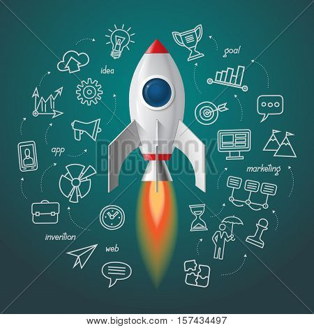 Space rocket launch. Business project start up concept. Vector rocket with the set of doodle icons of marketing strategy, launching new innovation product, creative start on market.