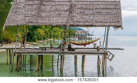 Hammock on Diving Station - Kri Island. Raja Ampat, Indonesia, West Papua.