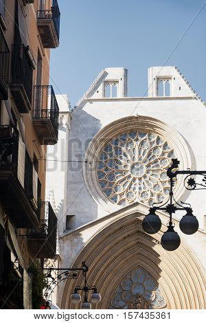 Tarragona (Catalunya Spain): exterior of the gothic cathedral detail of facade