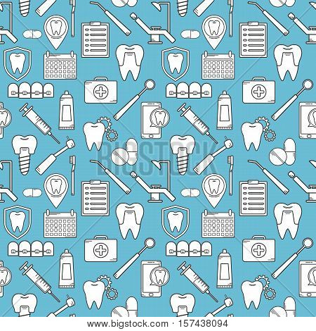 Seamless Vector Pattern In A Dental Linear Style. Background For Web Site Dental Clinic. Orthodontic