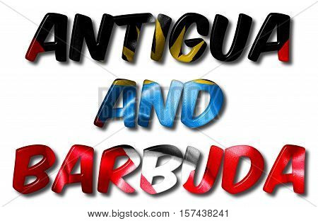 Antigua and Barbuda 3D illustration word with a flag texture on an isolated white background