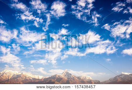 View of the Himalayan mountains from Sarangkot hill on sunrise, Pokhara, Nepal