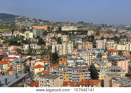 View of Sanremo (San Remo) on Italian Riviera areal view Imperia Liguria Italy