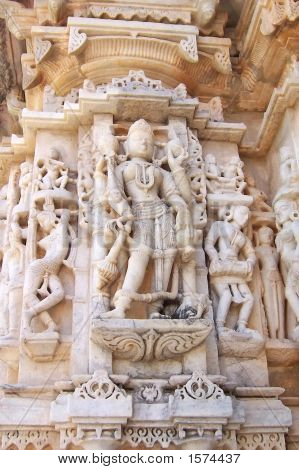 Detail Of Jain Architecture With White Sculpture, Ranakpur, India
